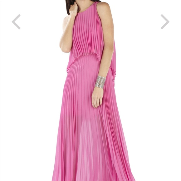BCBGMaxAzria Dresses | Bcbg Maxazria Shaina Sleeveless Pink Pleated ...